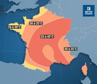 Une carte de Météo France montrant les températures probables en France à partir du lundi 22 juillet 2019