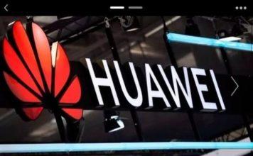 Une enseigne Huawei avec le logo de l'entreprise